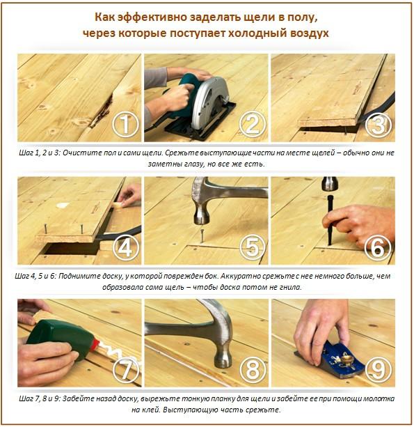 Как отремонтировать щели в полу