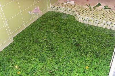Грандиозный наливной пол в ванной комнате