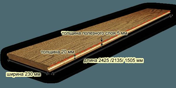Размеры инженерной доски