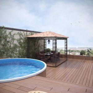 Круглый бассейн на крыше