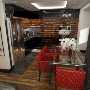 Трехполосный пол в кухне модерн