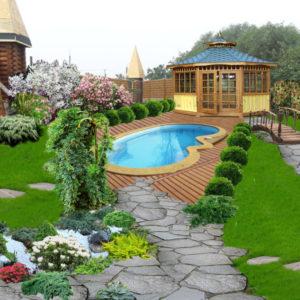 Ландшафтный дизайн с бассейном на даче