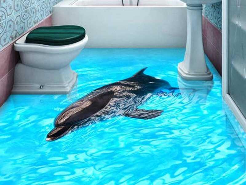 Аквариум с дельфинами наливной пол
