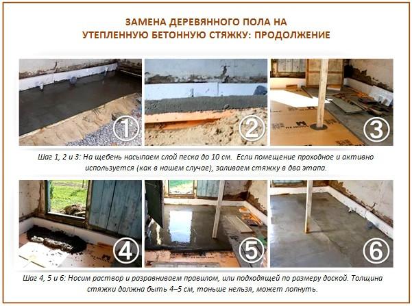 Замена деревянного пола на бетонную стяжку