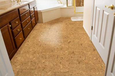 Устройство пола в ванной комнате с помощью пробкового покрытия