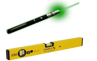 Лазерная указка и строительный уровень - основа лазерного нивелира