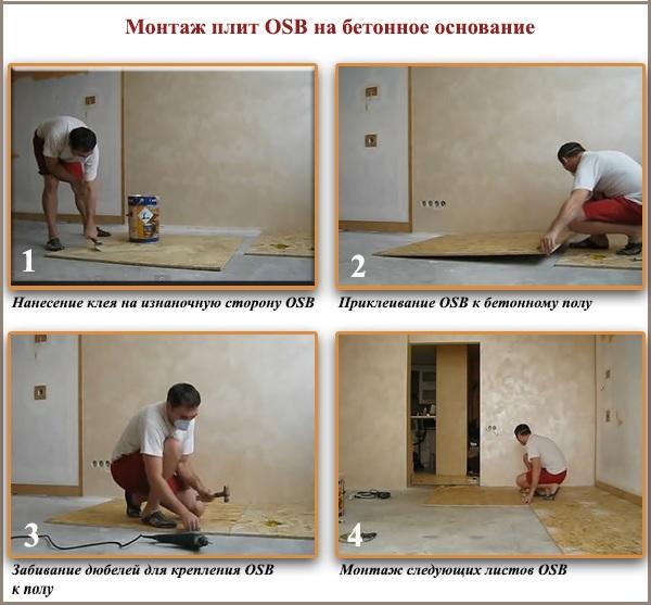 Монтаж плит OSB на бетонное основание