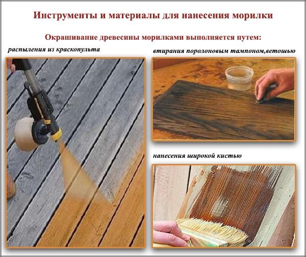 Инструменты и материалы для нанесения морилки
