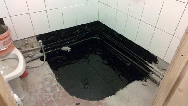 Обмазочная гидроизоляция пола в ванной
