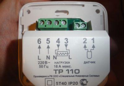 Схема подключения на корпусе термостата