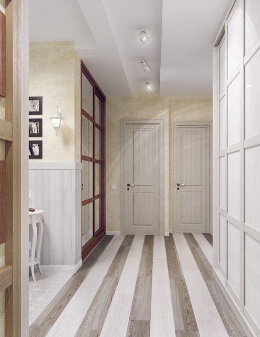 Пол в коридоре из ламината контрастных цветов