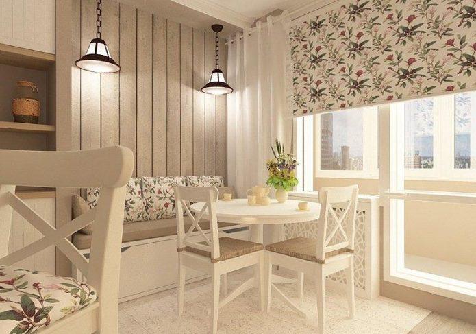 Светлый ламинат на стенах кухни