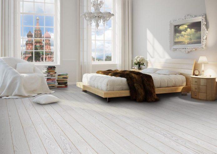 Спальня с белым ламинатом в классическом стиле