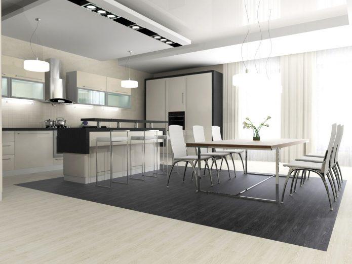 Дизайн кухни-столовой в черно-белых тонах