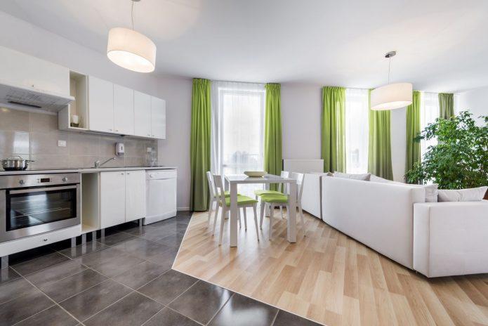 Отделение кухонной зоны контрастным ламинатом