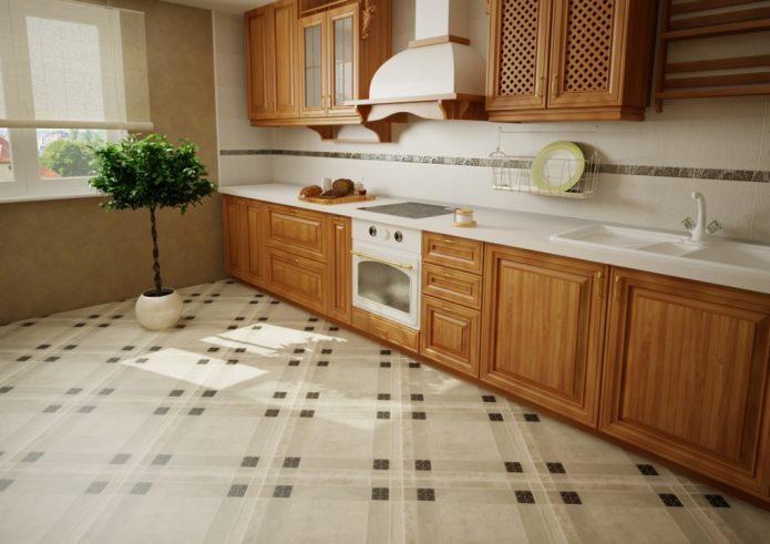 Напольная плитка на кухне с рисунком в клеточку