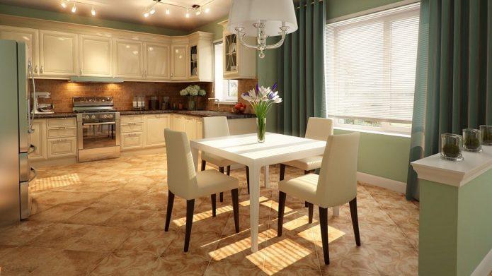 Кухня-столовая с фисташковыми оттенками