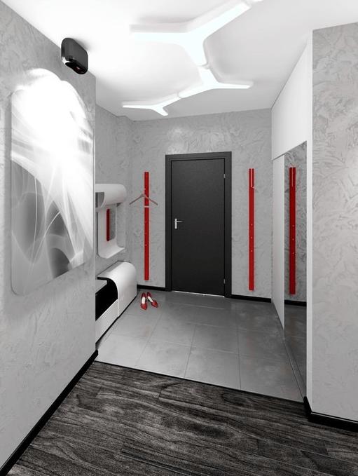 Серый ламинат в сочетании с кафелем на полу в коридоре