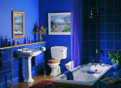 Синий кафель для ванной комнаты
