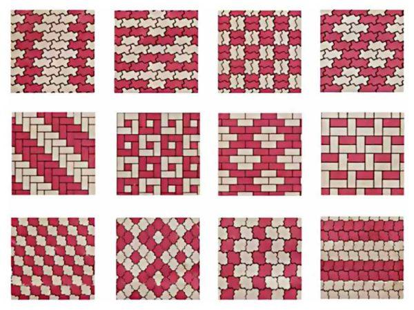 Схемы укладки плитки волна и клевер