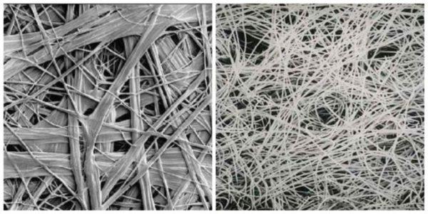 Структура термоскрепленого и иглопробивного геотекстиля при увеличении
