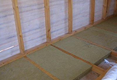 Теплоизоляция бетонного пола на лагах