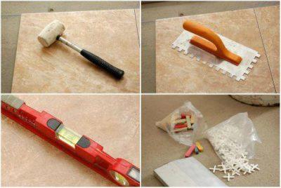 Резиновый молоток, зубчатый шпатель, уровень, пластиковые крестики - все это вам обязательно понадобится при укладке плитки
