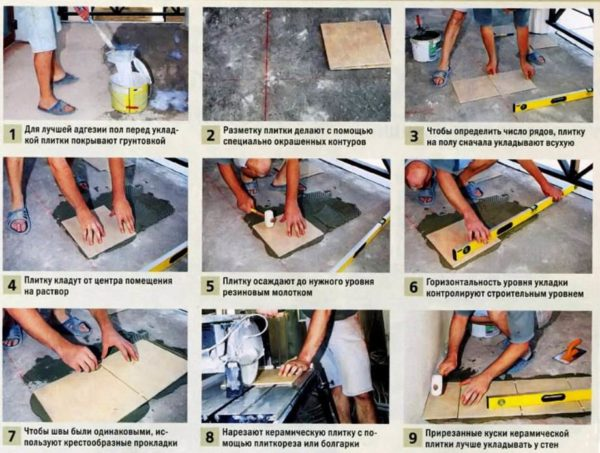 Укладка плитки на пол поэтапно