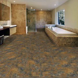 Кварц-виниловая плитка в интерьере ванной