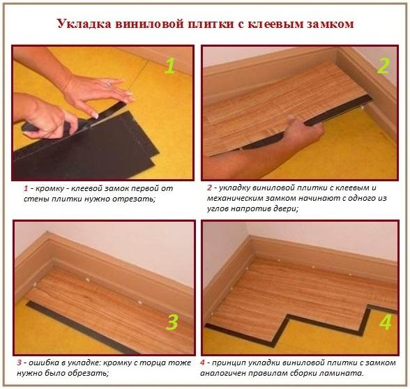 Укладка виниловой плитки для пола: материал с клеевым замком